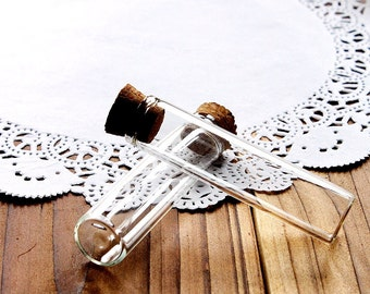 10pcs 65x16mm Clear Glass Tiny Bottle Vials Charms / Pendants with  With Corks /EYEHOOKS (BOT-34)