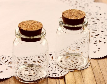 10pcs 40x30mm Clear Glass Tiny Bottle Vials Charms / Pendants with  With Corks /EYEHOOKS (BOT-12)