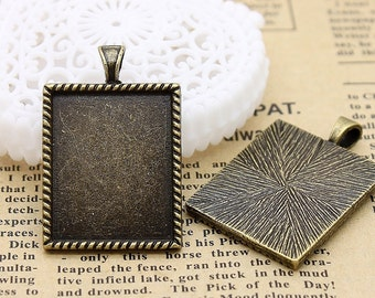 4Pcs Antique Bronze Plated Cabochon  Base frame Base for making resin photo necklaces and pendants(SETHY-20)