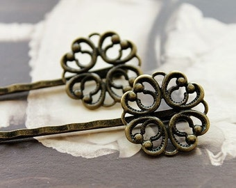 10 PCS Wholesale Antique Brass Filigree Feather  Hair  pins Clip Setting- high quality-( PINSS-5)