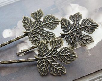 10pcs  Wholesale Antique Brass Filigree Feather  Hair  pins Clip Setting-8PCS high quality-( PINSS-20)
