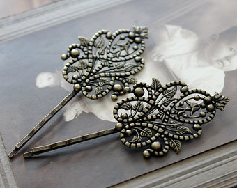 10pcs Wholesale Antique Brass Filigree Feather  Hair  pins Clip Setting- high quality-( PINSS-21)