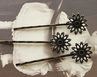 10pcs Wholesale Antique Brass Filigree Hair  pins Clip Setting- high quality-NICKEL FREE( PINSS-2)