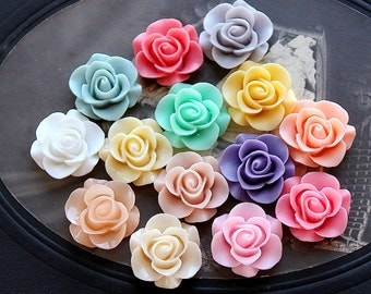 28pcs Wholesale Beautiful Mix Colorful Rose Flower Resin Cabochon  -14colors  -20mm(CAB-S -MIXSS--7)