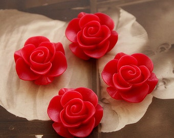Wholesale Beautiful  Colorful Rose Flower Resin Cabochon   --20mm(CAB-S -13)