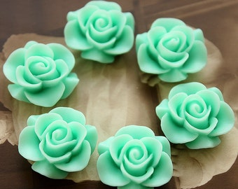 Wholesale Beautiful  Colorful Rose Flower Resin Cabochon   --20mm(CAB-S -21)