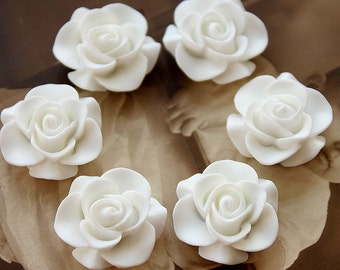 10pcs Wholesale Beautiful  Colorful Rose Flower Resin Cabochon   --20mm(CAB-S-27)