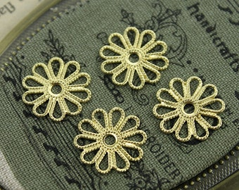 10  pcs RAW Brass Filigree  Jewelry Stampings ConnectorsSetting Cab Base Connector Finding  (FILIG-RB-16)