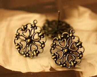 10 Pcs Antiqued Bronze plated Brass Filigree Lace Steel Post  Earring  NICKEL FREE(EAR -13)