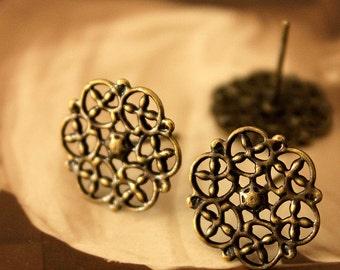50Pcs Antiqued Bronze plated Brass Filigree Lace Steel Post  Earring  NICKEL FREE(EAR-14)