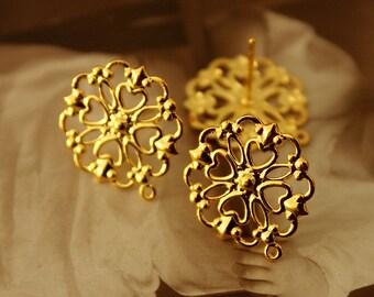10Pcs Gold plated Brass Filigree Lace Steel Post  Earring  NICKEL FREE(EAR-13)