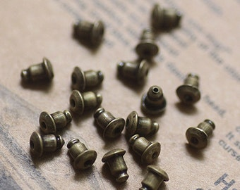 Antique Bronze  Plated Earring Studs Back Stoppers   6x5mm Nickel Free  (EAR-11B)