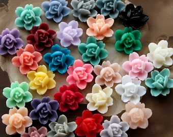 30PCS 180PCS 300PCS Wholesale Beautiful Mix Colorful 6-petal Flower Resin Cabochon - 30colors -12mm(CAB-I-MIXSS)