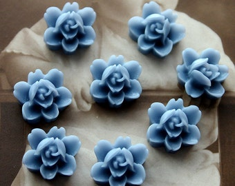 10 PCS  Wholesale Beautiful  Colorful 6-petal Flower Resin Cabochon - -12mm(CAB-I -2)