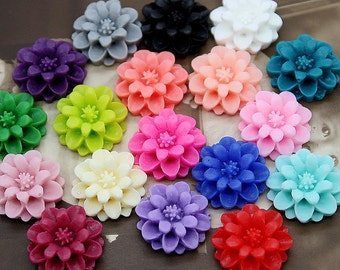 18 Pcs 18mm Wholesale Beautiful Mix Colorful Chrysanthemum Flower Cabochon -18colors-18mm (CAB-JA-MIXSS)