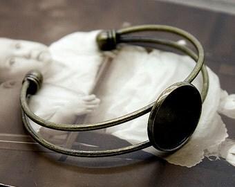 2 Pcs  Adjustable Antique bronze plated Pure brass  Cuff Bracelet   Blank Filigree  Bracelet 20 mm Setting  NICKEL FREE( CBS-5)
