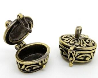 10 pcs  Vintage Antiqued bronze plated Raw Brass Box Locket Pendant  Charms/Pendants-    (LOCK-33)