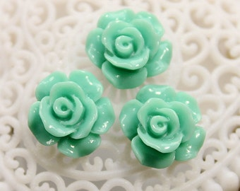 SALE-20pcs Wholesale Beautiful   Colorful Rose Flower Resin Cabochon   - -12mm(CAB-AK-36)