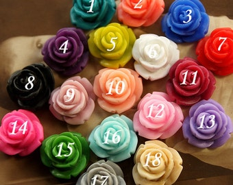 18pcs Wholesale Beautiful Colorful Rose Flower Resin Cabochon   -15mm(CAB-BR -MIXSS )