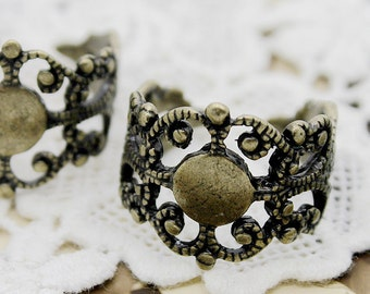 10PCS Strong Adjustable Antique Bronze plated Raw Brass Rings jewelry ring blank setting With 8mm Pad Nickel Free-(RINGSS-37)
