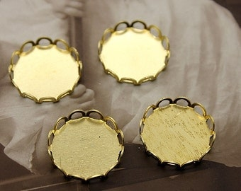 20Pcs 15mm Round Raw Brass Lace Edge  Cabochon  Base frame Base for making resin photo necklaces and pendants(SETHY-71)