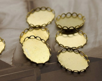 20Pcs 10x14mm Round Raw Brass Lace Edge  Cabochon  Base frame Base for making resin photo necklaces and pendants(SETHY-76)
