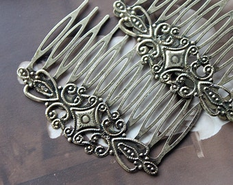 5Pcs Wholesale Antique bronze plated metal Filigree hair comb cabochon Setting With Filigree NICKEL FREE(COMBSS-7)