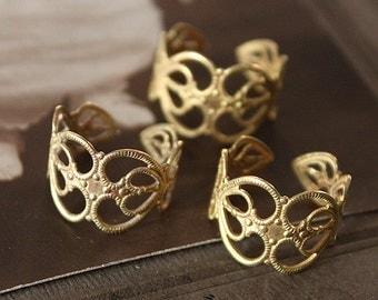 10PCS Adjustable  Raw Brass Rings jewelry  filigree ring (RINGSS-2R)