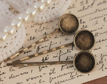 10Pcs (14mm)Wholesale Antique Brass Filigree Hair pins Clip Setting- high quality-NICKEL FREE( PINSS-47)
