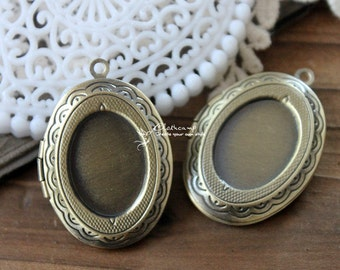 5pcs Vintage Antique Bronze Raw Brass  oval locket for 18x13mm cameo Settings Charms/Pendants-   (LOCK-35)