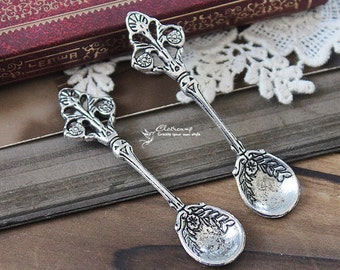 4pcs LARGE Vintage Antiqued Silver plated  Charms/Pendants-  ( Spoob )-(HAB-83)