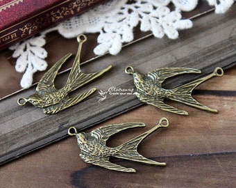 6pcs Vintage Antique Bronze plated  Charms/Pendants with 2 Loop-  ( Bird )-(HAB-82)