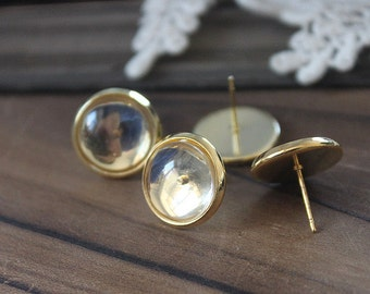 10Pcs 10mm Gold plated brass blank setting Post Earring With 10mm Round Pad  NICKEL FREE (EAR-54)