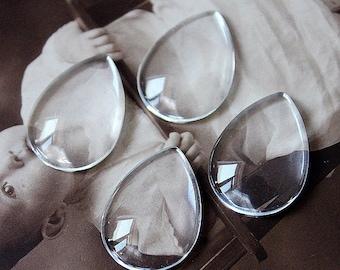 10Pcs( 18x25mm) -Transparent Clear Teardrop Glass Cabochon