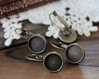 20Pcs 10mm Antiqued Bronze  plated  brass Earring ear hook  Hoop with 10mm Round Pad NICKEL FREE (EAR-52)
