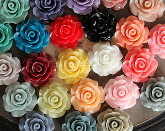 Limited discount Buy 1 Get 1 Free 48pcs Wholesale Beautiful Mix Colorful Rose Flower Resin Cabochon   -24colors-20mm(CAB-BS-MIXSS-2)