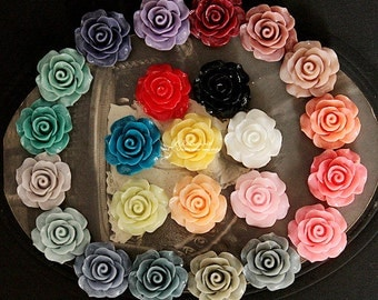 24PCS  Wholesale Beautiful Mix Colorful Rose Flower Resin Cabochon   -24colors-20mm(CAB-BS-MIXSS-2)