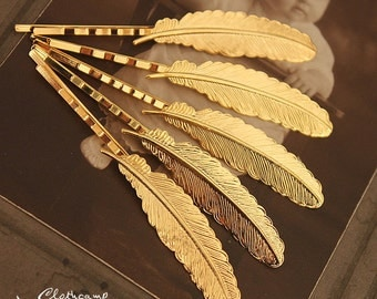 10PCS  Gold Plated Raw Brass Feather  Hair  pins Clip Setting- high quality( PINSS-G-15)