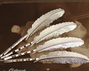 10PCS  Silver Plated Raw Brass Feather  Hair  pins Clip Setting- high quality( PINSS-S-13)