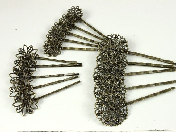 15 Pcs Antique Brass Filigree Hair  pins Clip Setting (3 Styles), NICKEL FREE