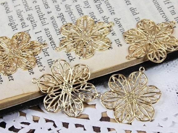 8pcs Gold plated brass Filigree For Resin Flowers Jewelry Stampings Connectors  Setting (FILIG-G-3)