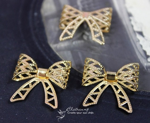 3pcs Gold plated brass Filigree  Bow Charm Pendant Connector  (FILIG-G-8)