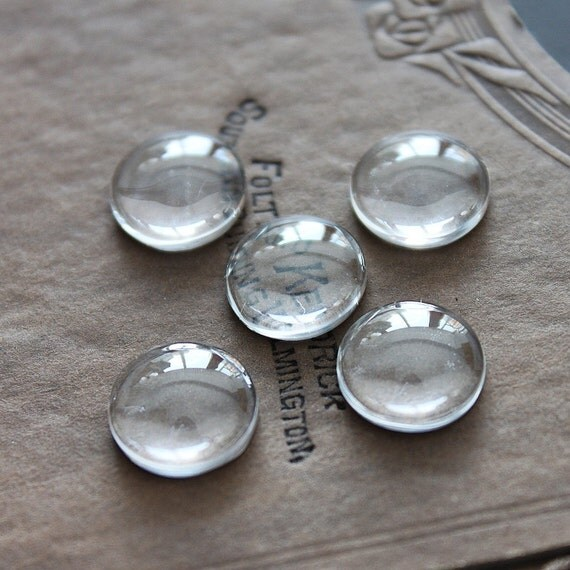 Big sale-50pcs 14mm Diameter -SALE--Round Clear Glass Cabochon- thick dome top gems for pendants - photo charms