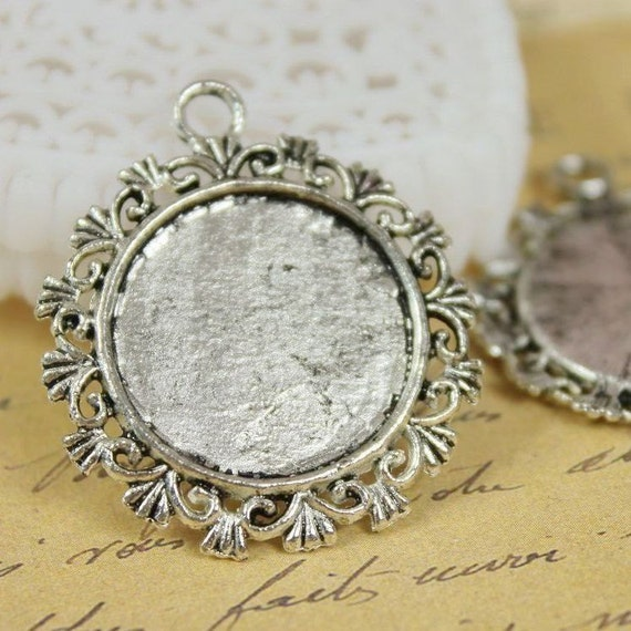Sale-20Pcs 20mm    Antique Silver  Plated  Cabochon  Base frame Base for making resin photo necklaces and pendants(SETHY-13)
