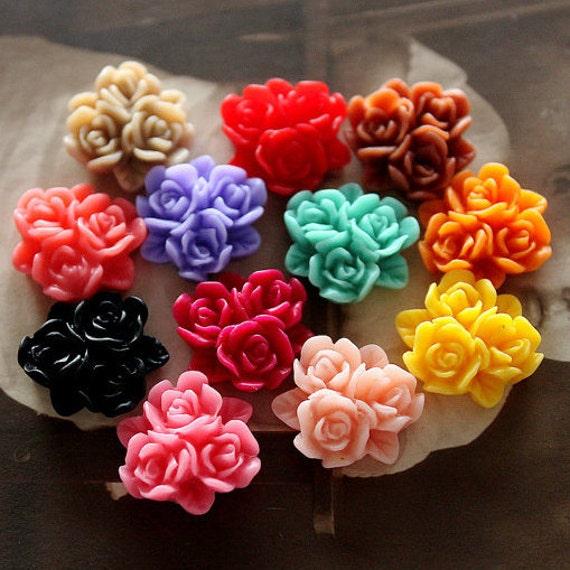 24pcs  Wholesale Beautiful Mix Colorful  Rose Flower Resin Cabochon  -12colors-15mm(CAB-BP -MIXSS)