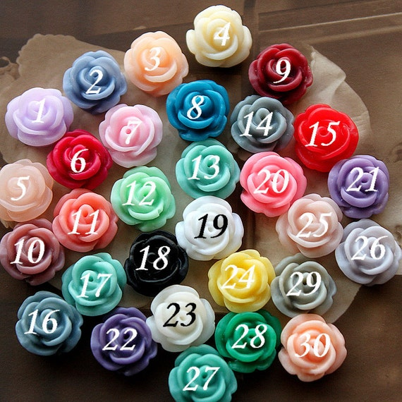 10 pcs Wholesale Beautiful  Colorful Rose Flower Resin Cabochon   --11mm(CAB-BD)