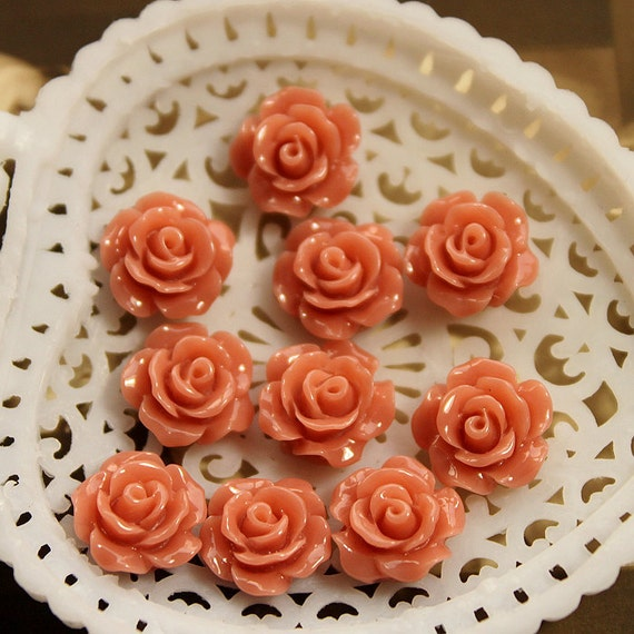 10 pcs Wholesale Beautiful Colorful   Flower Resin Cabochon   - 10mm -(CAB-AX-17)