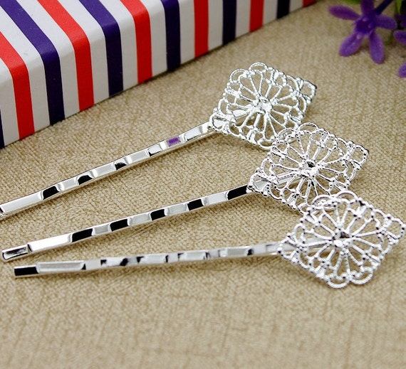 10pcs free Wholesale Silver plated brass Filigree Hair  pins Clip Setting NICKEL FREE( PINSS-S-6)