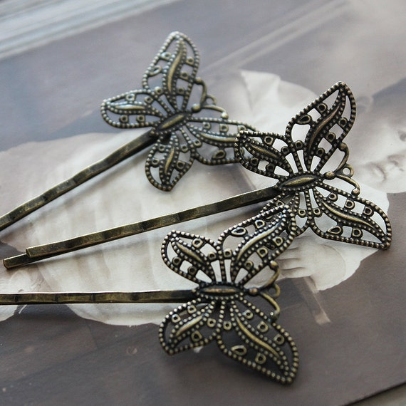 8Pcs Wholesale Antique Brass Filigree Hair  pins Clip Setting- high quality-NICKEL FREE( PINSS-36)