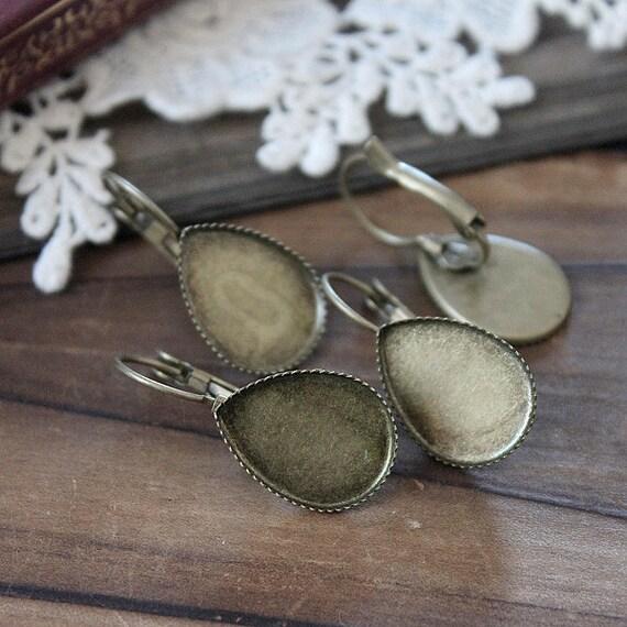 10Pcs 13x18mm Antique Bronze  plated  brass Earring ear hook  Hoop with Teardrop Pad NICKEL FREE (EAR-49)